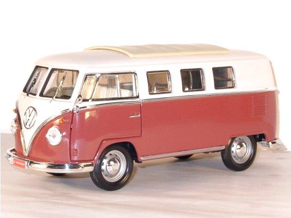 VW Volkswagen T1 Microbus - 1962 - redbrown / white - Lucky Die Cast 1:18