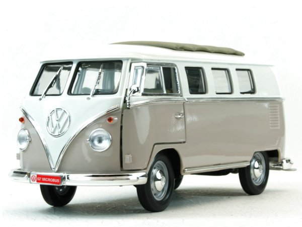 VW Volkswagen T1 Microbus Sun Roof - 1962 - grey / white - Lucky Die Cast 1:18