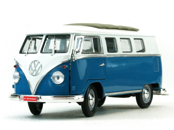 VW Volkswagen T1 Microbus Sun Roof - 1962 - blue / white - Lucky Die Cast 1:18