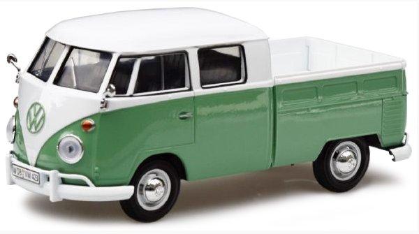 VW Volkswagen T1 - Type2 DoubleCab - green / white - MotorMax 1:24