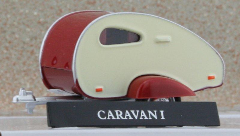 Anhänger / Trailer Wohnwagen / Camper - Caravan I - cream / red - Cararama 1:43