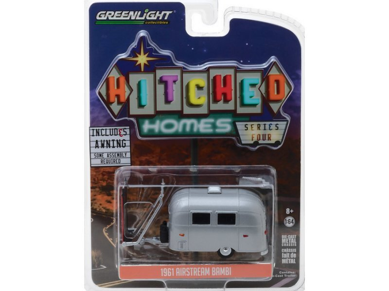 AIRSTREAM Bambi with Markise / Awning - 1961 - silver / red - Greenlight 1:64